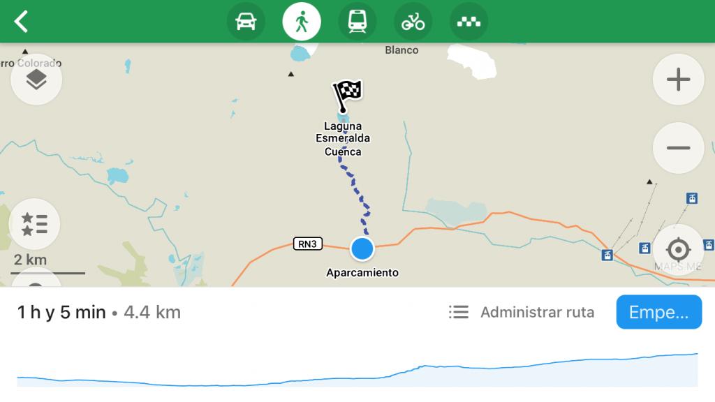 Recorrido a la laguna Esmeralda en la aplicación Maps.me
